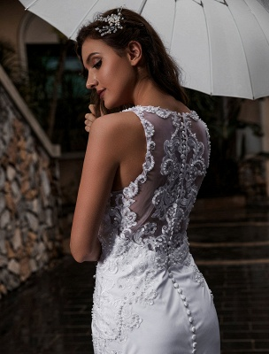 Customize Wedding Dress With Train Sleeveless Beaded Square Neck Bridal Gowns_6