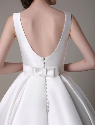Ivory Wedding Dress Scoop Backless Knee Length Satin Wedding Gown Exclusive_14