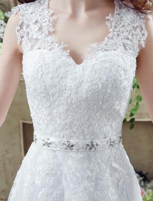 Weißes Hochzeitskleid Queen Anne Brautkleid mit Schärpe und Spitze_3