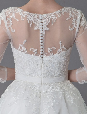 Vintage Wedding Dresses Tulle Bateau 3/4 Length Sleeve A Line Bridal Gown Short Bridal Dress Exclusive_11