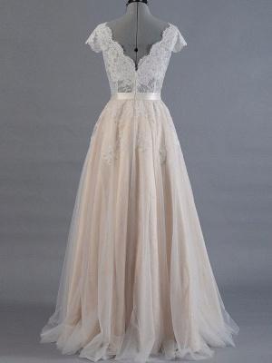 Brautkleid 2021 V-Ausschnitt Kurze Ärmel Spitze Applique Bodenlangen Tüll Traditionelle Brautkleider_2