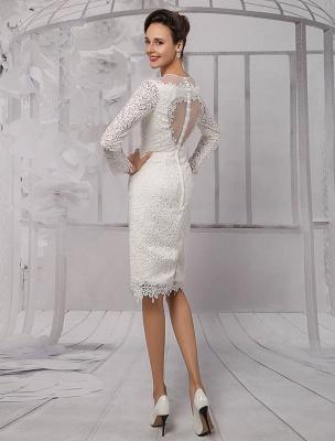 Vestidos de novia sencillos 2021 Corto Manga larga Escote de ilusión Koyhole Hasta la rodilla Vestido de novia con vaina Exclusivo_6