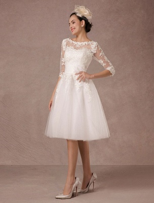 Short Wedding Dress Vintage Lace Applique Long Sleeves Tea Length A Line Tulle Bridal Gown With Flower Sash Exclusive_6