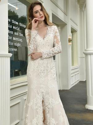 Boho Wedding Dress V Neck Sleeveless Natural Waist Lace Bridal Gowns With Train_8