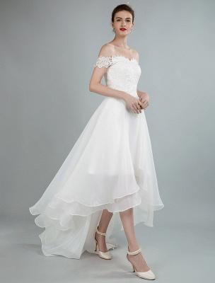Einfaches Brautkleid A Line Off The Shoulder Ärmellose Spitze Brautkleider Mit Zug Exklusiv_3