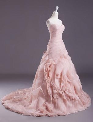 Rosa A-Linie trägerloses herzförmiges Brautkleid mit abgestuftem Sweep-Effekt_2