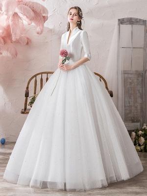 Vintage Wedding Dresses Princess High Collar Half Sleeve Floor Length Tulle Traditional Bridal Gowns_2