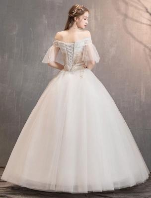 Prinzessin Brautkleid Elfenbein schulterfreies bodenlanges Brautkleid_5