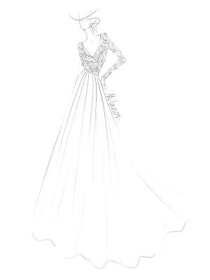 Einfache Hochzeitskleid A-Linie V-Ausschnitt Langarm Bodenlangen Chiffon Spitze Brautkleider_6