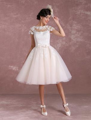 Vintage Wedding Dresses Short Lace Applique Bridal Gown Illusion Bow Sash Bridal Dress Exclusive_4