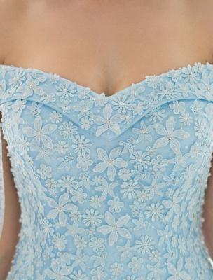Blaues Brautkleid Spitze Blumenapplikation Off-the-Schulter Tüll Cape Chaple Schleppe A-Linie Brautkleid_7