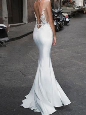 Weiße Hochzeitsbrautkleider Bodenlangen Ärmellos Applique Illusion Ausschnitt Braut Meerjungfrau Kleid Abendkleid_2