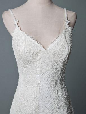 Einfache Brautkleider Spitze V-Ausschnitt Ärmellose Spitze Meerjungfrau Brautkleider mit Zug With_4