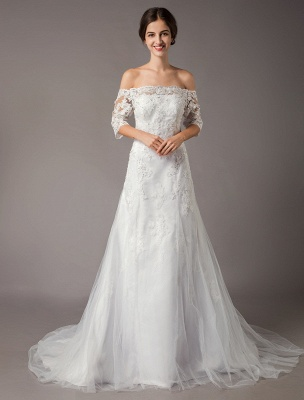 Wedding Dresses Ivory Lace Off Shoulder Half Sleeve Sequin Applique Bridal Dress With Train Exclusive_1
