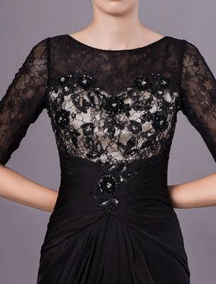 Schwarze Abendkleider Halbarm Spitze Perlen Chiffon Lange Abendkleider Hochzeitsgast Kleid_7