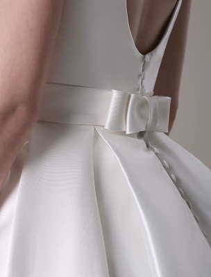 Ivory Wedding Dress Scoop Backless Knee Length Satin Wedding Gown Exclusive_17