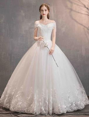 Tüll Brautkleider Prinzessin Brautkleid Schulterfrei Spitze Applique Bodenlangen Ballkleid Brautkleid_3