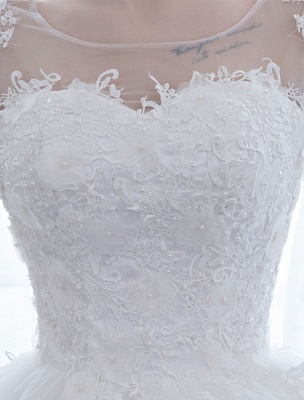 Ivory Wedding Dress Princess Ball Gown Bridal Dress Half Sleeve Lace Applique Pearls Beaded Sweetheart Floor Length Bridal Gown_7
