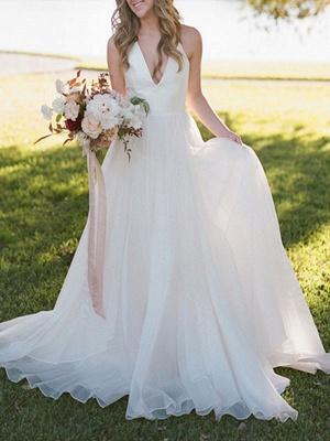 A Line Wedding Dress Ivory Blackless V Neck Spaghetti Straps Wedding Dress_3