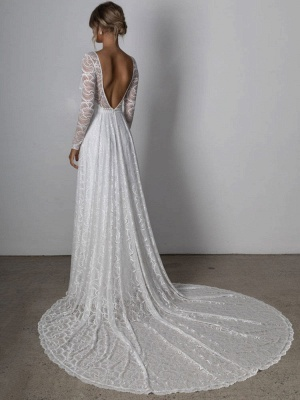 Ivory Lace Wedding Dress Chapel Train A-Line Long Sleeves Lace V-Neck Long Bridal Gowns_3