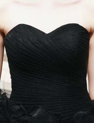 Schwarzes Festzug Partykleid Frauen Trägerlose Tüll Luxus Prinzessin Kleider_7