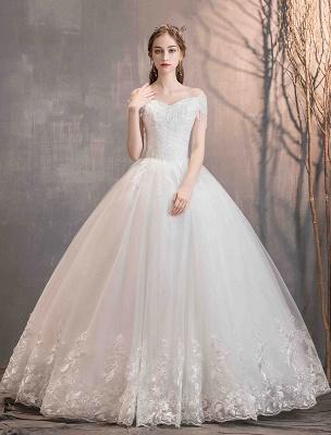 Tüll Brautkleider Prinzessin Brautkleid Schulterfrei Spitze Applique Bodenlangen Ballkleid Brautkleid_4
