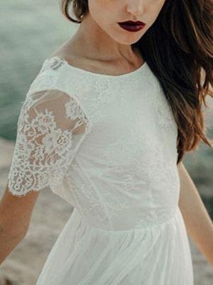 Einfache Hochzeitskleid A-Linie Jewel Neck Spitze Kurzarm Bodenlangen Chiffon Strandhochzeit Brautkleider_7