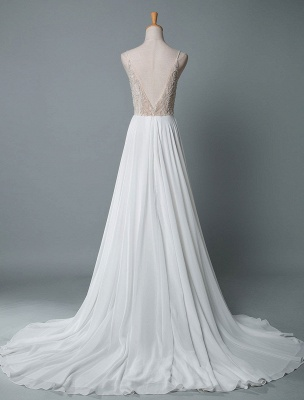 Simple Wedding Dress A Line V Neck Sleeveless Embroidered Chiffon Bridal Dresses With Train_3
