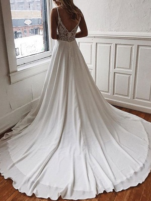 Vestido de novia simple Una línea Cuello en V Sin mangas Correas Volver Encaje Boho Vestidos de novia con tren_1