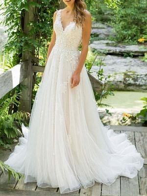 Simple Wedding Dress 2021 A Line V Neck Sleeveless Floor Length Beach Bridal Dresses With Train_1