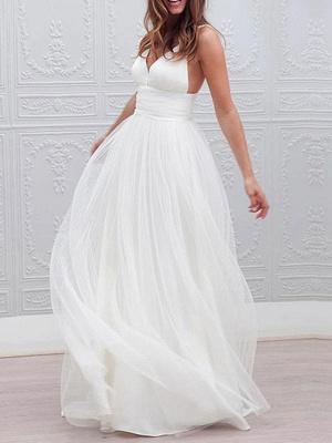 Einfache Brautkleider 2021 A Line V-Ausschnitt Träger Rückenfreies Tüll Brautkleid für die Strandhochzeit_1