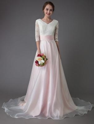 Brautkleider Rosa V-Ausschnitt Halbarm Plissee A-Linie Brautkleid Mit Zug Exklusiv_3