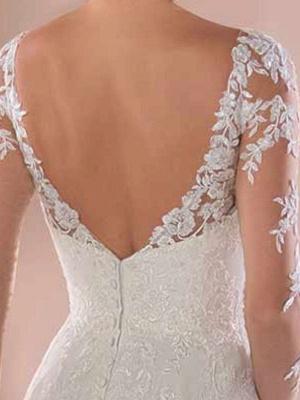 Spitze Brautkleider 2021 Chiffon V-Ausschnitt A-Linie Langarm Spitze Applique Strandhochzeit Brautkleid mit Zug Freie Anpassung_6