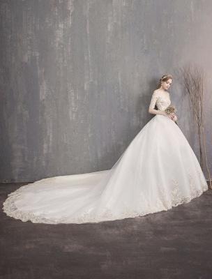 Tulle Wedding Dress Off The Shoulder Half Sleeve Princess Bridal Gown_13