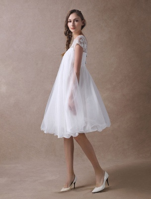 Simple Wedding Dresses Short Empire Waist Lace Tulle Cap Sleeve Pregnant Bridal Dress Exclusive_4