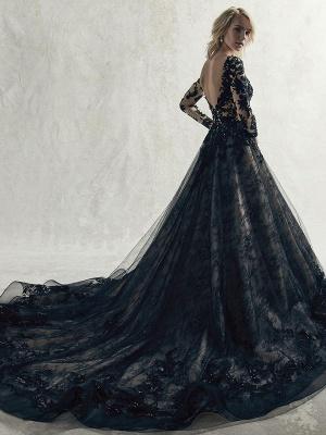 Vestidos de novia negros Encaje Princesa Silueta Mangas largas Cintura natural Encaje Corte tren Vestido de novia_2