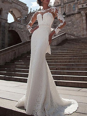 Wedding Dress Lace Illusion Neck Long Sleeves Mermaid Bridal Gowns With Court Train_1