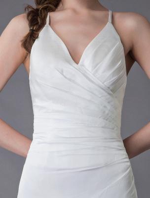 Beach Wedding Dresses Sexy Bridal Dress High Split Ivory Sheath Straps Summer Wedding Gowns Exclusive_9