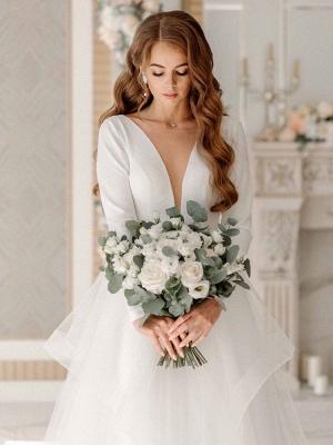 Weiße A-Linie Brautkleider Bodenlang Lange Ärmel Abgestufter V-Ausschnitt Natürliche Taille Bodenlange Brautkleider_3