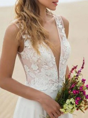 Simple Wedding Dress A Line V Neck Sleeveless Lace Illusion Back Bridal Gowns_3
