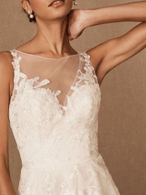 Robes De Mariée Vintage Bijou Cou Sans Manches Taille Surélevée Satin Tissu Avec Train Applique Robe De Mariée_4