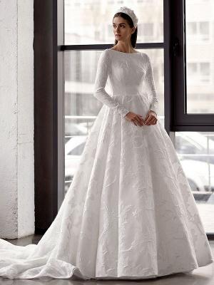Weißes einfaches Brautkleid mit Zug A-Linie Jewel Neck lange rückenfreie Ärmel Satin Stoff Brautkleider_1
