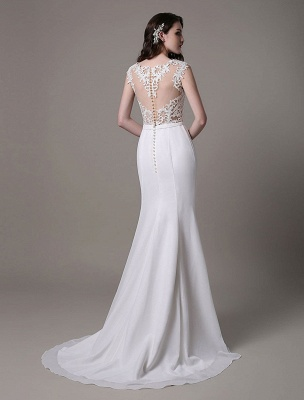 Vintage Wedding Dress Lace And Chiffon Sheath With Stunning Bateau Illusion Neckline And Illusion Back Exclusive_8