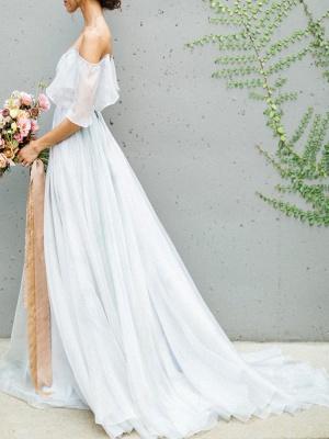 Wedding Dress A Line Off The Shoulder Sleeveless Pleated Court Train Chiffon Boho Bridal Gowns_4