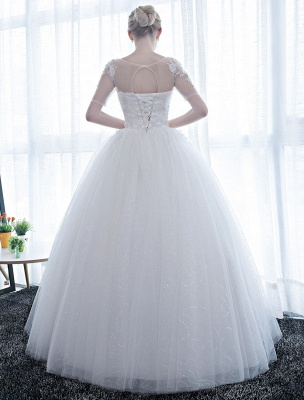 Ivory Wedding Dress Princess Ball Gown Bridal Dress Half Sleeve Lace Applique Pearls Beaded Sweetheart Floor Length Bridal Gown_6
