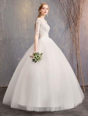 Vestidos de novia de encaje Marfil Escote de ilusión La mitad de manga Hasta el suelo Vestido de novia de princesa_4