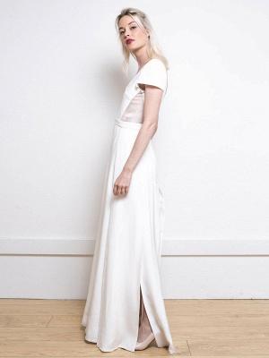 Weißes einfaches Hochzeitskleid Satin Stoff V-Ausschnitt Kurze Ärmel Rückenfrei Split Front A-Linie Lange Brautkleider_2