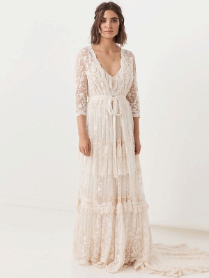 Boho Wedding Dress Suit 2021 V Neck Floor Length Lace Multilayer Bridal Gown Dress And Outfit_5