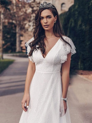 White Simple Wedding Dress Lace V-Neck Short Sleeves Backless Ruffles A-Line Natural Waist Long Bridal Gowns_2