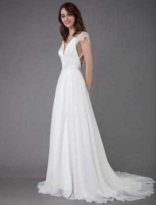 Strand-Hochzeitskleider-Spitze-Satin-A-Linie-Elfenbein-Luxus-Rücken-Kreuz-High-Split-Sommer-Brautkleider-Mit-Zug_6